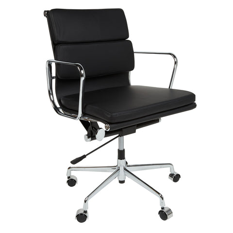 Eames Style EA217 Low Back Padded Black Leather Office Chair - directhomeliving