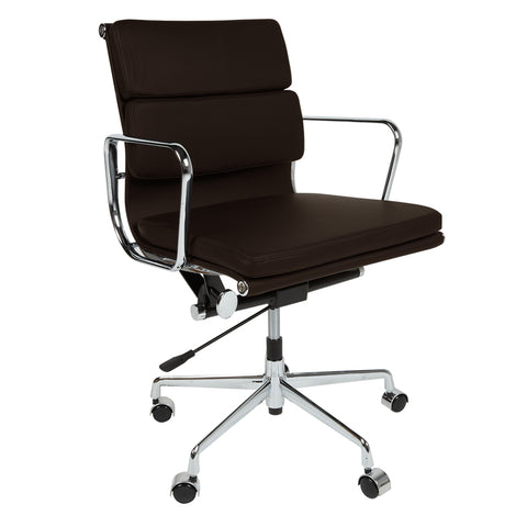 Eames Style EA217 Low Back Padded Dark Brown Leather Office Chair - directhomeliving
