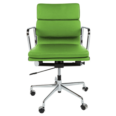 Eames Style EA217 Low Back Padded Green Leather Office Chair - directhomeliving