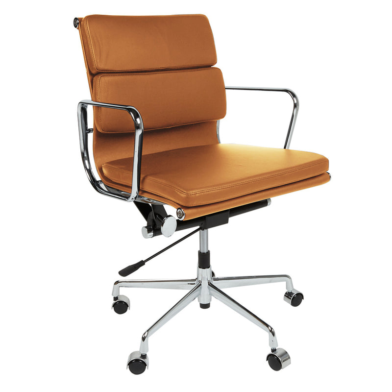 Cool Eames Style Ea217 Low Back Padded Tan Leather Office Chair Download Free Architecture Designs Scobabritishbridgeorg