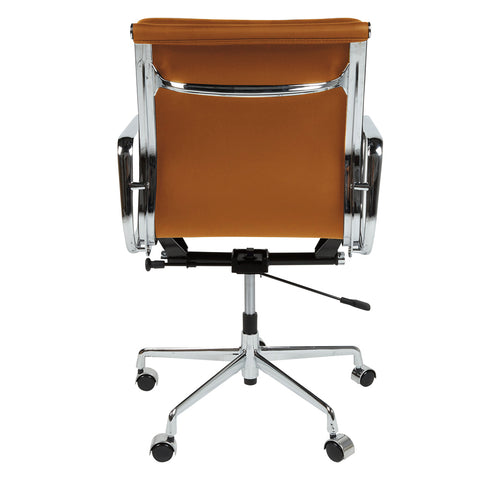 Eames Style EA217 Low Back Padded Tan Leather Office Chair - directhomeliving