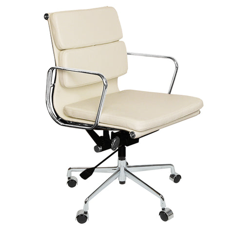 Eames Style EA217 Low Back Padded White Leather Office Chair - directhomeliving