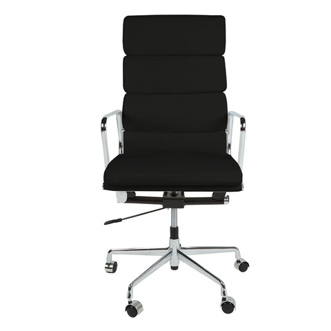 Eames Style EA219 High Back Padded Black Leather Office Chair - directhomeliving