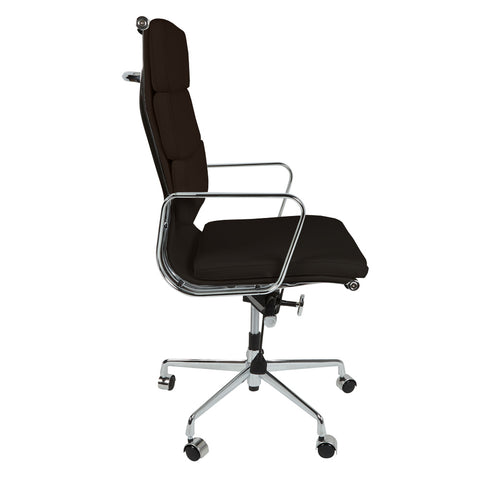 Eames Style EA219 High Back Padded Dark Brown Leather Office Chair - directhomeliving