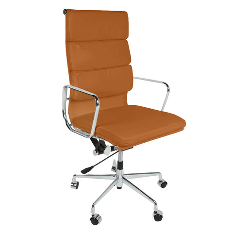 Eames Style EA219 High Back Padded Tan Leather Office Chair