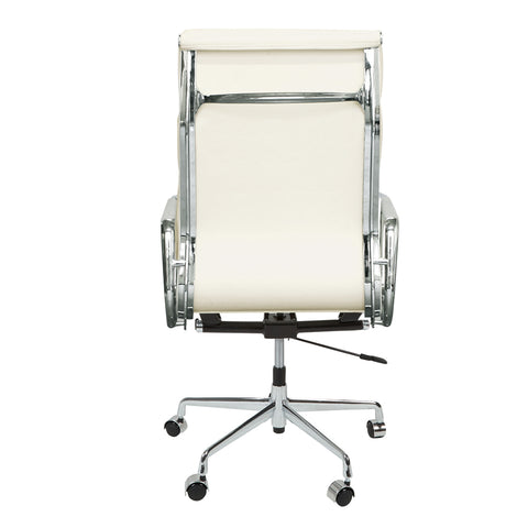 Eames Style EA219 High Back Padded White Leather Office Chair - directhomeliving