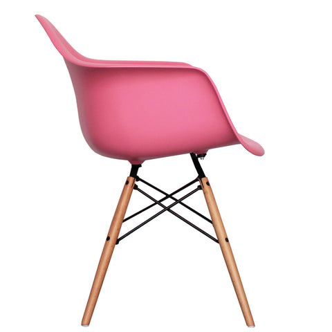 CHARLES EAMES Style Pink Plastic Retro DAW Armchair - directhomeliving
