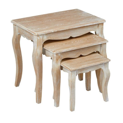 Provence Oak Nest of 3 Tables - directhomeliving