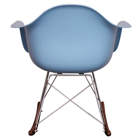 CHARLES EAMES Style Blue Plastic Retro RAR Walnut Rocking Chair - directhomeliving