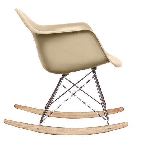 CHARLES EAMES Style Beige Plastic Retro RAR Beech Rocking Chair - directhomeliving
