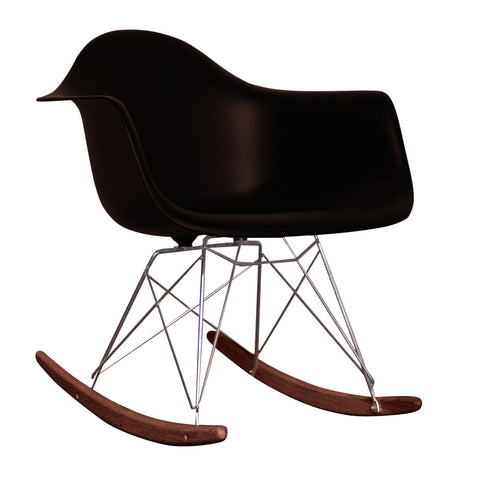 CHARLES EAMES Style Black Plastic Retro RAR Walnut Rocking Chair - directhomeliving
