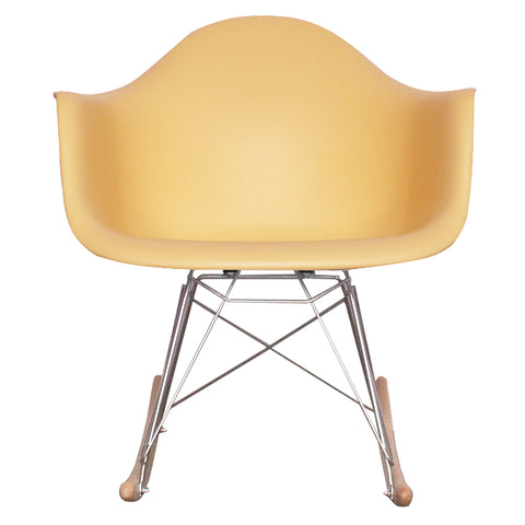 CHARLES EAMES Style Cream Plastic Retro RAR Beech Rocking Chair - directhomeliving