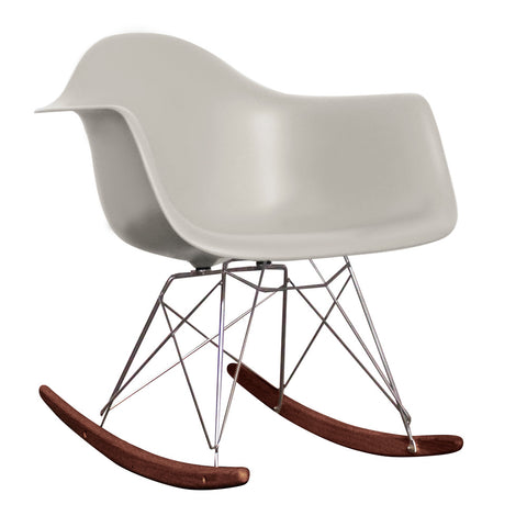 CHARLES EAMES Style Cool Grey Plastic Retro RAR Walnut Rocking Chair - directhomeliving