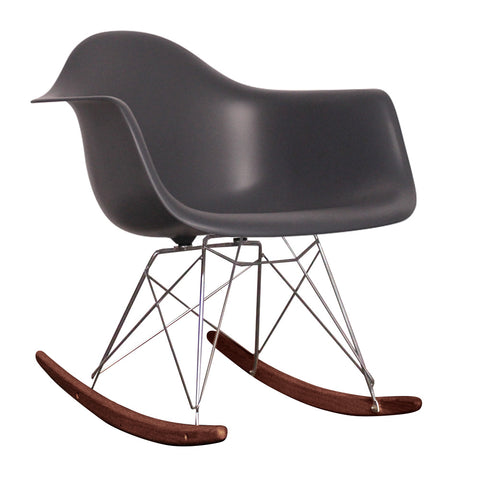 CHARLES EAMES Style Dark Grey Plastic Retro RAR Walnut Rocking Chair - directhomeliving