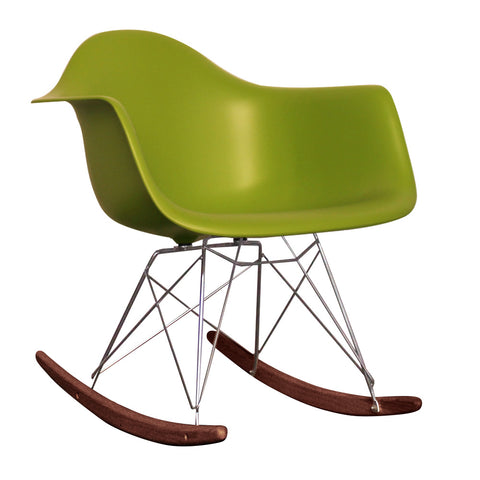 CHARLES EAMES Style Green Plastic Retro RAR Walnut Rocking Chair - directhomeliving