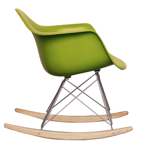 CHARLES EAMES Style Green Plastic Retro RAR Beech Rocking Chair - directhomeliving