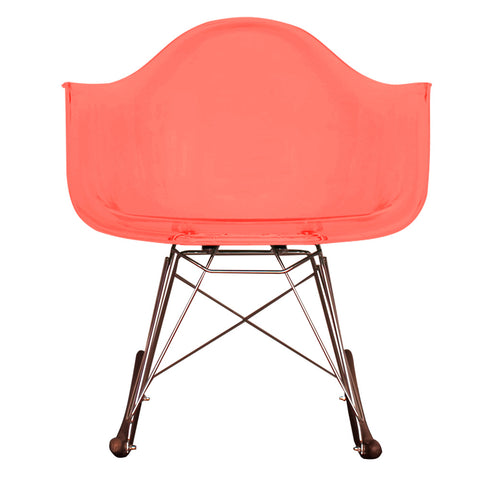 CHARLES EAMES Style Ghost Red Plastic Retro RAR Walnut Rocking Chair - directhomeliving