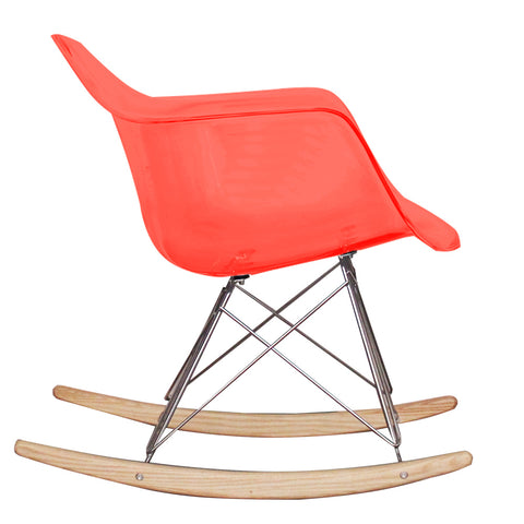CHARLES EAMES Style Ghost Red Plastic Retro RAR Beech Rocking Chair - directhomeliving