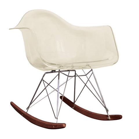 CHARLES EAMES Style Ghost Smoke Plastic Retro RAR Walnut Rocking Chair - directhomeliving