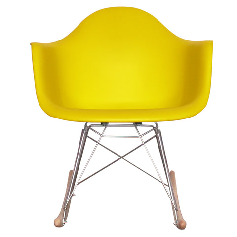 CHARLES EAMES Style Lemon Plastic Retro RAR Beech Rocking Chair - directhomeliving