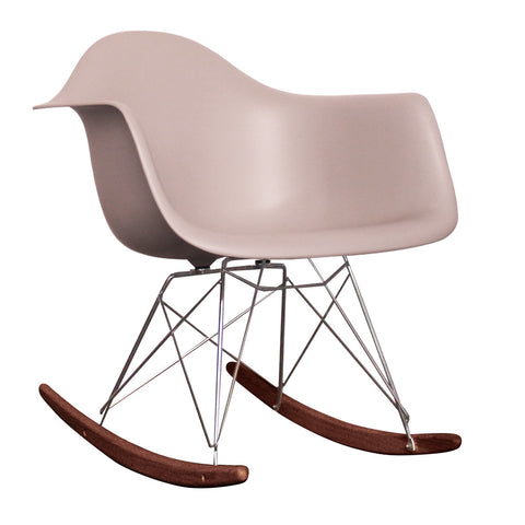 CHARLES EAMES Style Light Grey Plastic Retro RAR Walnut Rocking Chair - directhomeliving