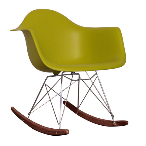 CHARLES EAMES Style Mustard Plastic Retro RAR Walnut Rocking Chair - directhomeliving