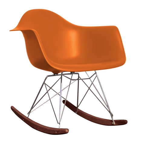 CHARLES EAMES Style New Orange Plastic Retro RAR Walnut Rocking Chair - directhomeliving