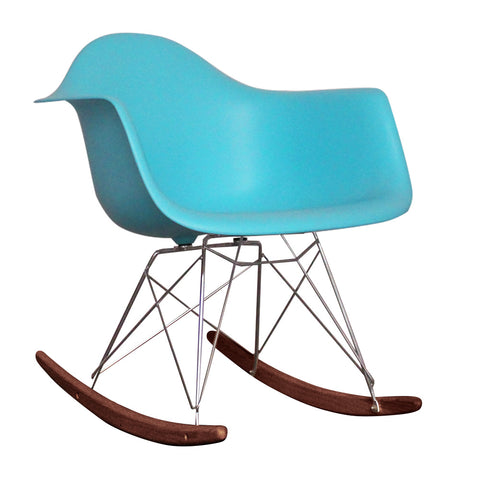 CHARLES EAMES Style Pearl Blue Plastic Retro RAR Walnut Rocking Chair - directhomeliving