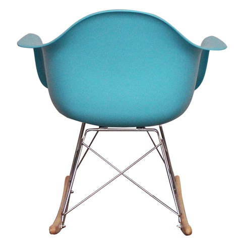 CHARLES EAMES Style Pearl Blue Plastic Retro RAR Beech Rocking Chair - directhomeliving