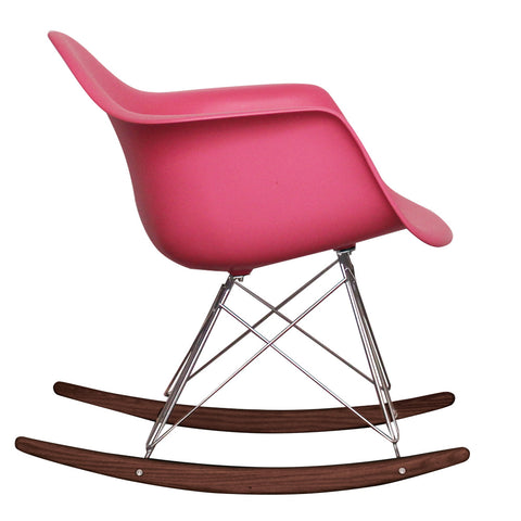 CHARLES EAMES Style Pink Plastic Retro RAR Walnut Rocking Chair - directhomeliving