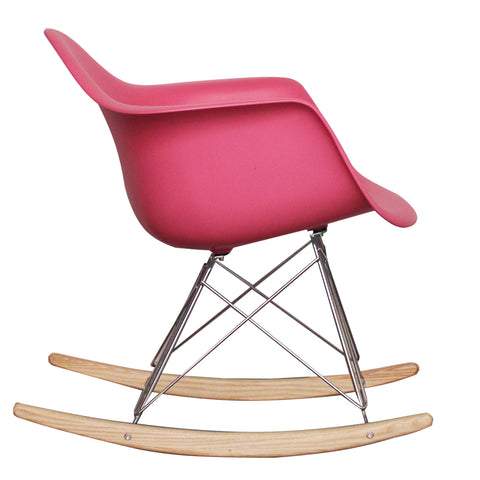CHARLES EAMES Style Pink Plastic Retro RAR Beech Rocking Chair - directhomeliving