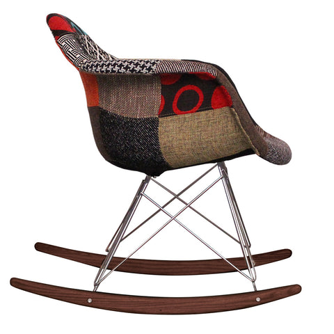 CHARLES EAMES Style Patchwork Fabric Retro RAR Walnut Rocking Chair - directhomeliving