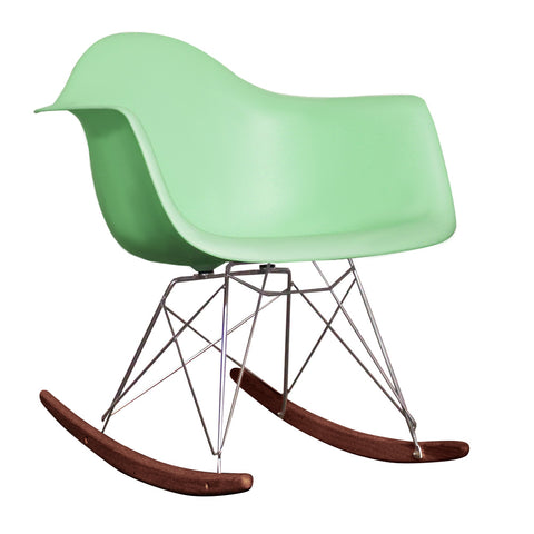 CHARLES EAMES Style Peppermint Plastic Retro RAR Walnut Rocking Chair - directhomeliving