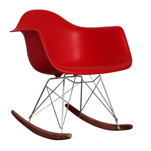 CHARLES EAMES Style Red Plastic Retro RAR Walnut Rocking Chair - directhomeliving