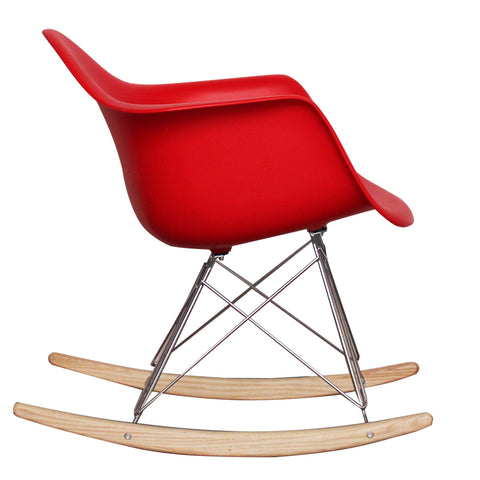 CHARLES EAMES Style Red Plastic Retro RAR Beech Rocking Chair - directhomeliving