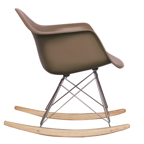 CHARLES EAMES Style Slate Plastic Retro RAR Beech Rocking Chair - directhomeliving