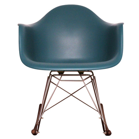 CHARLES EAMES Style Teal Plastic Retro RAR Walnut Rocking Chair - directhomeliving