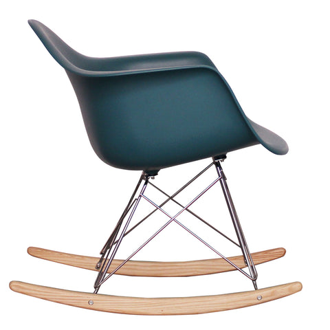 CHARLES EAMES Style Teal Plastic Retro RAR Beech Rocking Chair - directhomeliving
