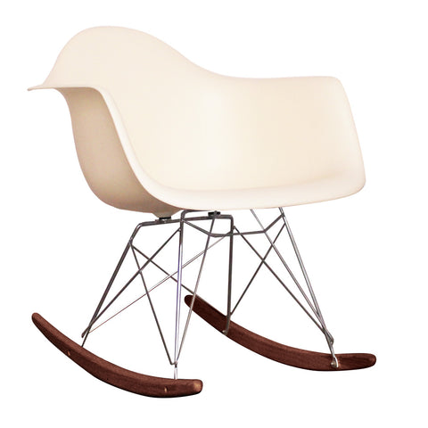 CHARLES EAMES Style Vanilla Plastic Retro RAR Walnut Rocking Chair - directhomeliving