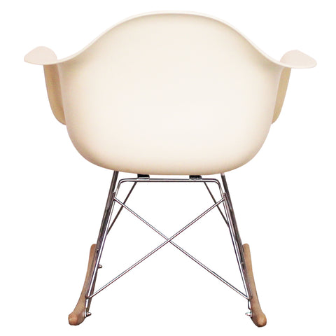 CHARLES EAMES Style Vanilla Plastic Retro RAR Beech Rocking Chair - directhomeliving