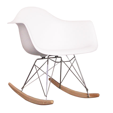 CHARLES EAMES Style White Plastic Retro RAR Beech Rocking Chair - directhomeliving