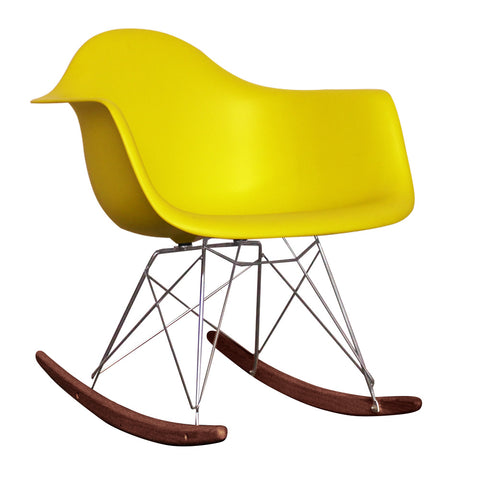 CHARLES EAMES Style Lemon Plastic Retro RAR Walnut Rocking Chair - directhomeliving