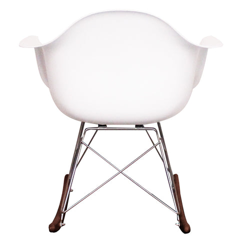 CHARLES EAMES Style White Plastic Retro RAR Walnut Rocking Chair - directhomeliving