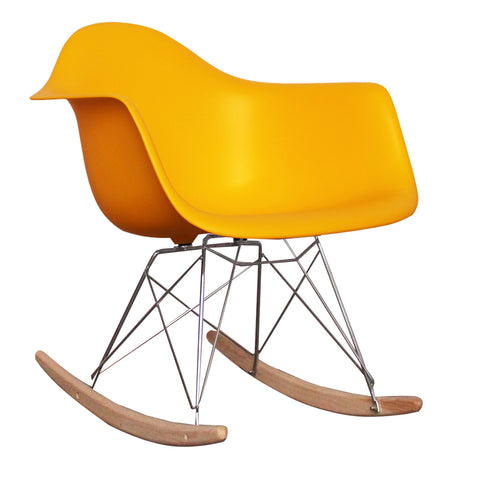 CHARLES EAMES Style Yellow Plastic Retro RAR Beech Rocking Chair - directhomeliving