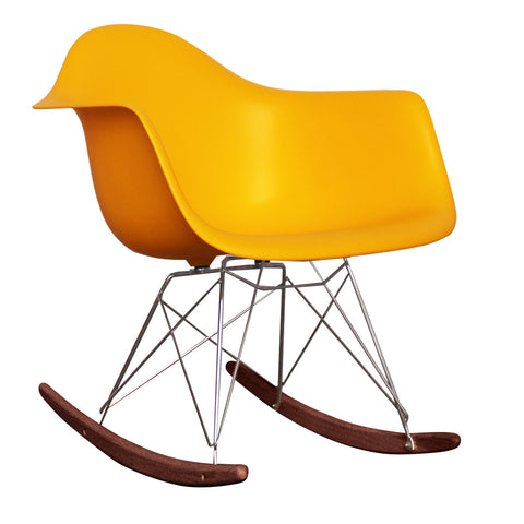 CHARLES EAMES Style Yellow Plastic Retro RAR Walnut Rocking Chair - directhomeliving