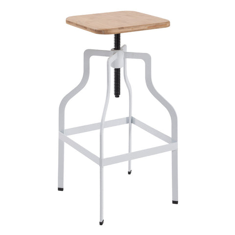 Shoreditch Square White Bar Stool - directhomeliving