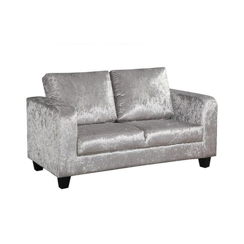 Silver Crushed Velvet Sofa in a Box - directhomeliving