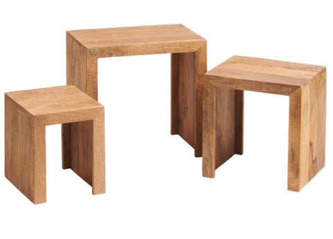 Toko Handcrafted Light Mango Nest of 3 Tables - directhomeliving