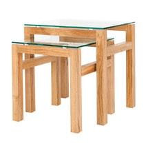 Tribeca Glass Top Nest of 2 Tables - directhomeliving