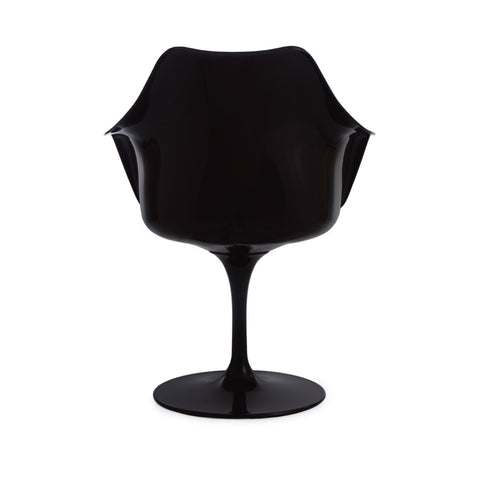 Tulip Arms Grey Seat Black Chair - directhomeliving